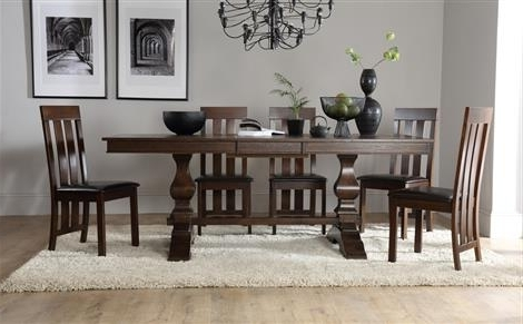 Preferred Cavendish Dark Wood Extending Dining Table With 4 Chester Chairs Throughout Dark Wood Extending Dining Tables (View 16 of 20)