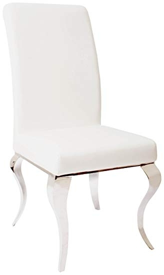 Preferred Chrome Leather Dining Chairs Within Derrys Modern Chrome Leg Luxury Faux Leather Dining Chair, Wood (View 12 of 20)