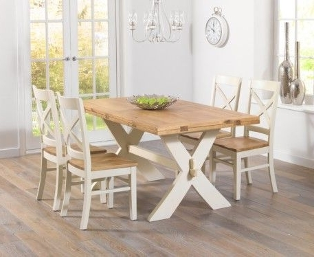 Preferred Cream And Oak Dining Tables Pertaining To Bordeaux 165Cm Oak And Cream All Sides Extending Table With (View 16 of 20)