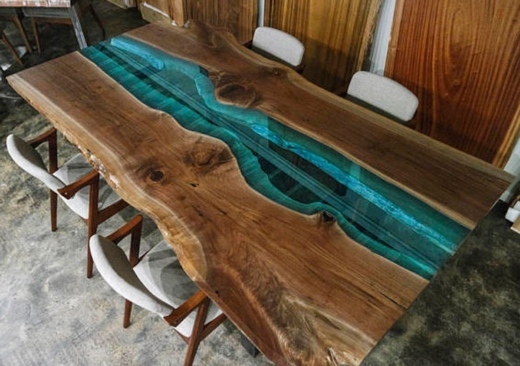 Preferred Custom Made Rustic Walnut And Blue Glass Dining Tables – Awesome For Blue Glass Dining Tables (View 16 of 20)