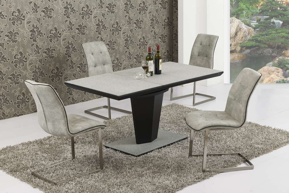 Preferred Extendable Glass Dining Tables And 6 Chairs Inside Extending Large Grey Stone Effect Glass Dining Table And 6 Chairs (View 18 of 20)