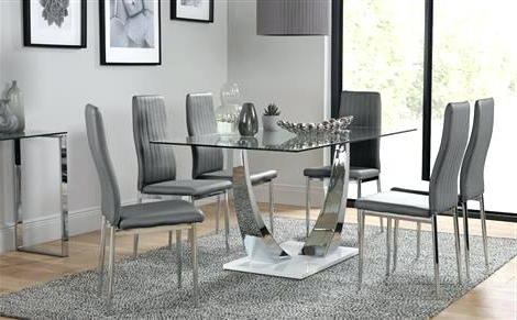 Preferred Glass And Chrome Dining Tables And Chairs Within Glass Dinner Table Set Glass Chrome Dining Table White Gloss Base (View 9 of 20)