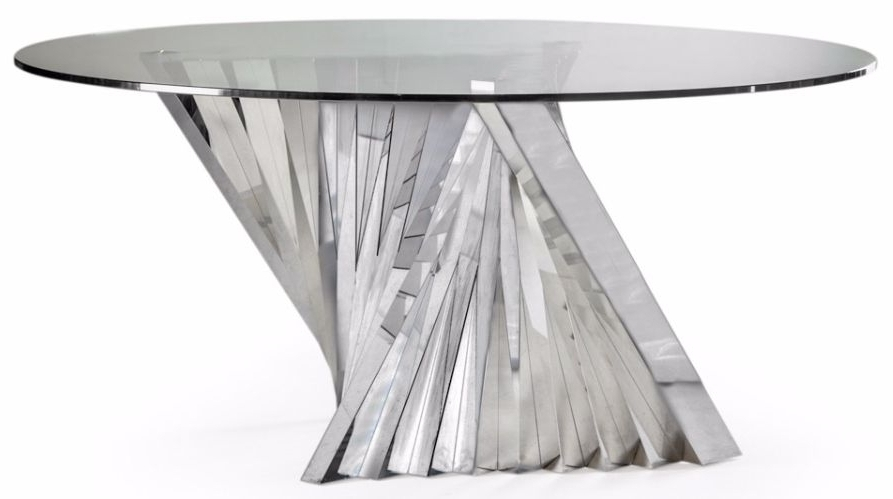 Preferred Glass And Stainless Steel Dining Tables Throughout Buy Stainless Steel And Glass Turin Round Dining Table – 160Cm (View 17 of 20)