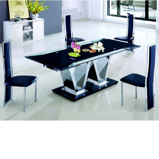 Preferred Glass Dining Tables And Leather Chairs Regarding Nico Rectangle Extending Glass Dining Table And 8 Leather (View 16 of 20)