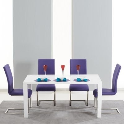 Preferred Harvey 160Cm High Gloss White Dining Table With 4 Milan Purple Within Dining Tables And Purple Chairs (View 17 of 20)