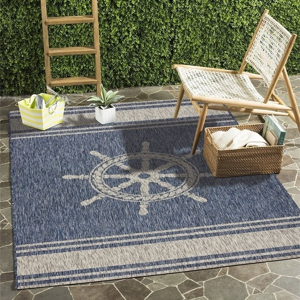 "Preferred Helms 7 Piece Rectangle Dining Sets Pertaining To Shop Lr Home Captiva Nautical Helm Indoor/outdoor Area Rug (7'9""x9' (View 16 of 20)"