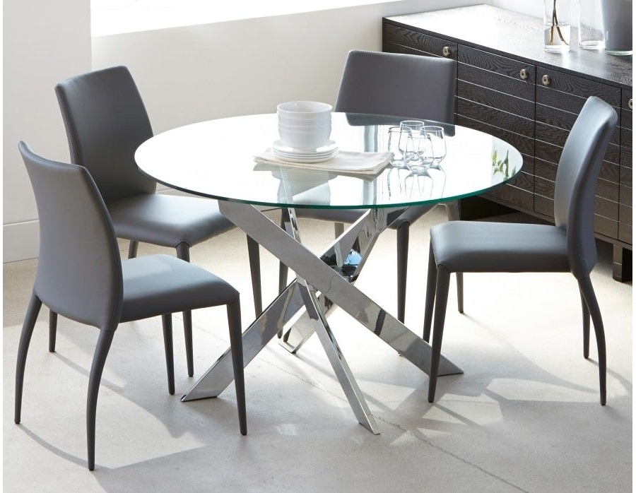 Preferred Ibiza – Round Glass And Chrome Dining Table 47'' – Chrome (View 5 of 20)