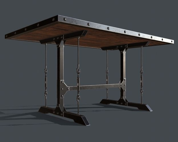 Preferred Industrial Style Dining Tables Intended For 3D Asset Industrial Style Dining Table For Pbr Challenge  (View 18 of 20)