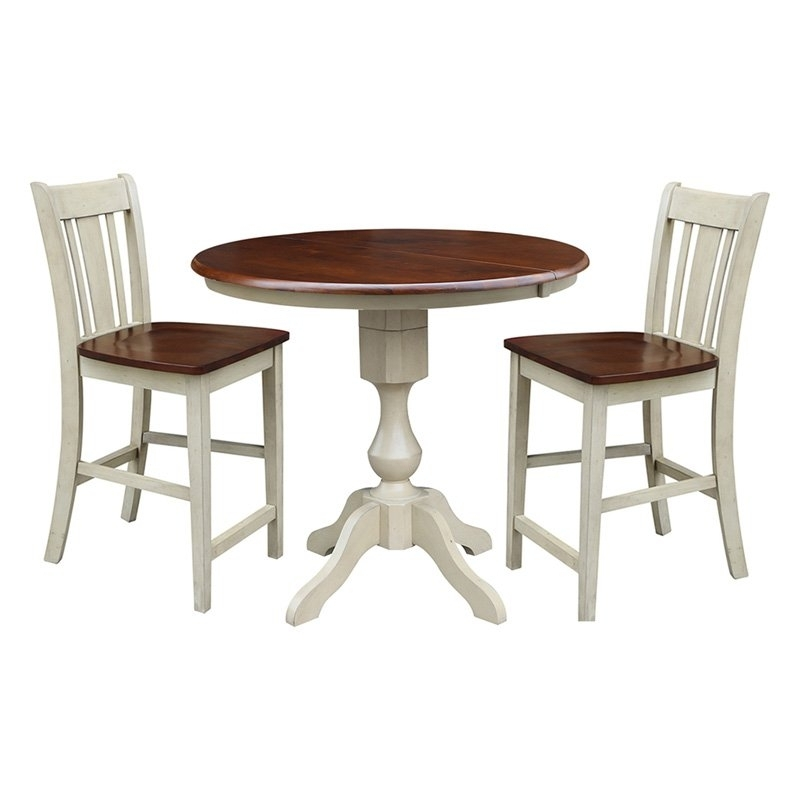 Preferred International Concepts 3 Piece Curved Base Dining Table Set With San For Jaxon 5 Piece Extension Counter Sets With Wood Stools (View 16 of 20)