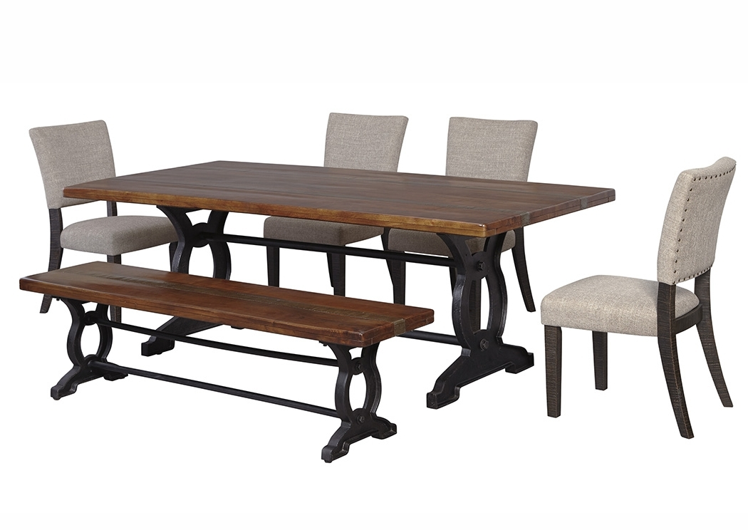 Preferred Ivan Smith Zurani Brownblack Rectangular Dining Room Contemporary Within Jaxon 6 Piece Rectangle Dining Sets With Bench & Wood Chairs (View 12 of 20)