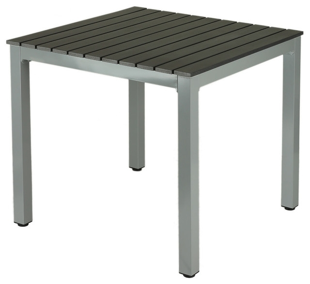 Preferred Jaxon Aluminum Outdoor Table, Poly Wood, Silver/slate Gray – Modern Regarding Jaxon Grey 5 Piece Extension Counter Sets With Wood Stools (View 17 of 20)