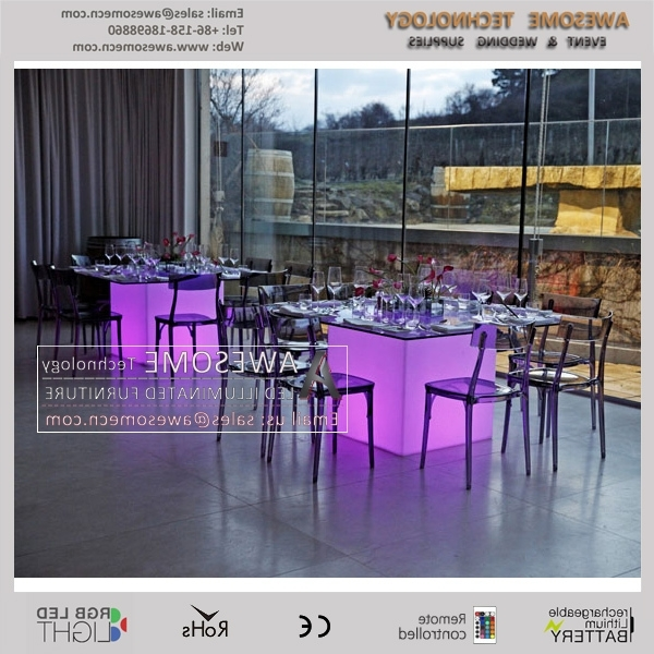Preferred Led Dining Tables Lights Throughout Led Dining Table Design / Luminous Square Wedding Table / Fancy (View 15 of 20)
