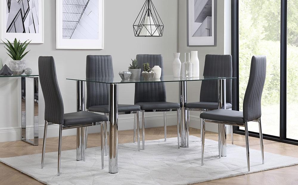 Preferred Leon Dining Tables In Lunar & Leon Glass & Chrome Dining Table And 4 6 Chairs Set (grey (View 20 of 20)