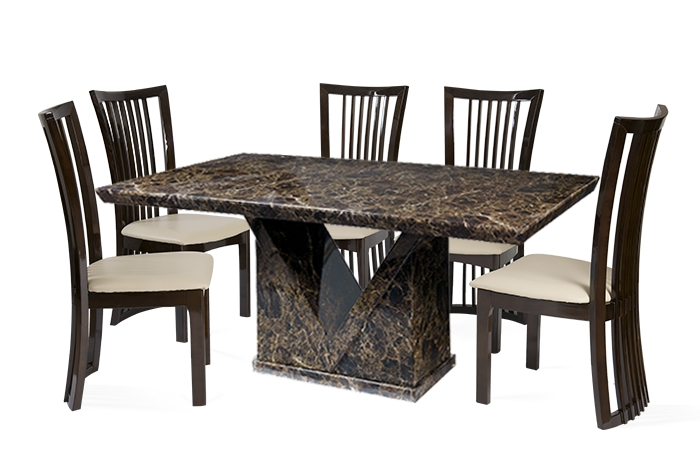 Preferred Marble Effect Dining Tables And Chairs Throughout Mocha 160Cm Marble Effect Dining Table With 4 Reni Chairs (View 15 of 20)