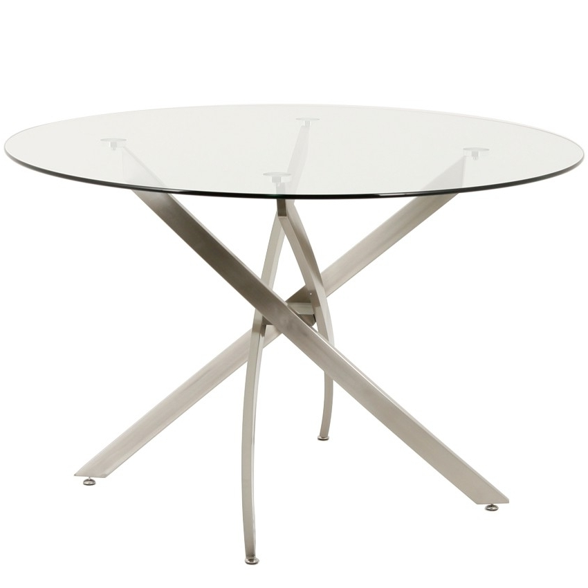 "Preferred Modern 48"" Round Glass Dining Table Inside Brushed Steel Dining Tables (View 18 of 20)"