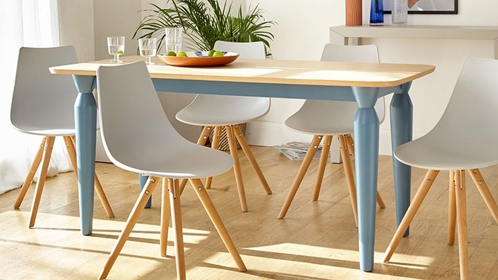 Preferred Oak 6 Seater Dining Tables Inside 6 Seater Oak And Powder Blue Dining Table (View 16 of 20)