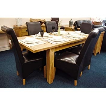 Preferred Oak Extending Dining Tables And Chairs Within Solid Oak Extending Dining Table And Six Kelsey Leather Chairs With (View 17 of 20)