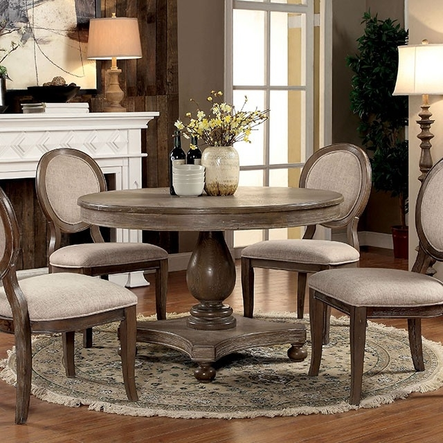 Preferred Oak Round Dining Tables And Chairs With Regard To Siobhan Rustic Dark Oak Round Dining Set – Shop For Affordable Home (View 15 of 20)
