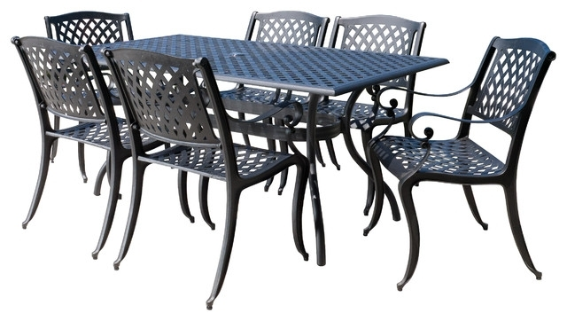 Preferred Outdoor Dining Table And Chairs Sets Pertaining To Marietta Outdoor Cast Aluminum Black Sand Dining 7 Piece Set (View 17 of 20)