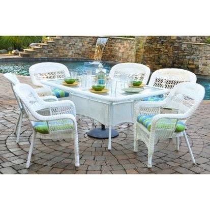 Preferred Outdoor Tortuga Dining Tables Inside Tortuga Outdoor Portside 7 Piece Wicker Dining Set – Rocking Furniture (View 7 of 20)