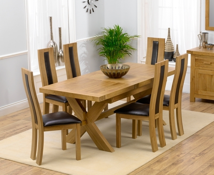 Preferred Padova Solid Oak 160Cm Extending Dining Set With 4 Esher Brown Chairs With Regard To Extending Dining Room Tables And Chairs (View 16 of 20)