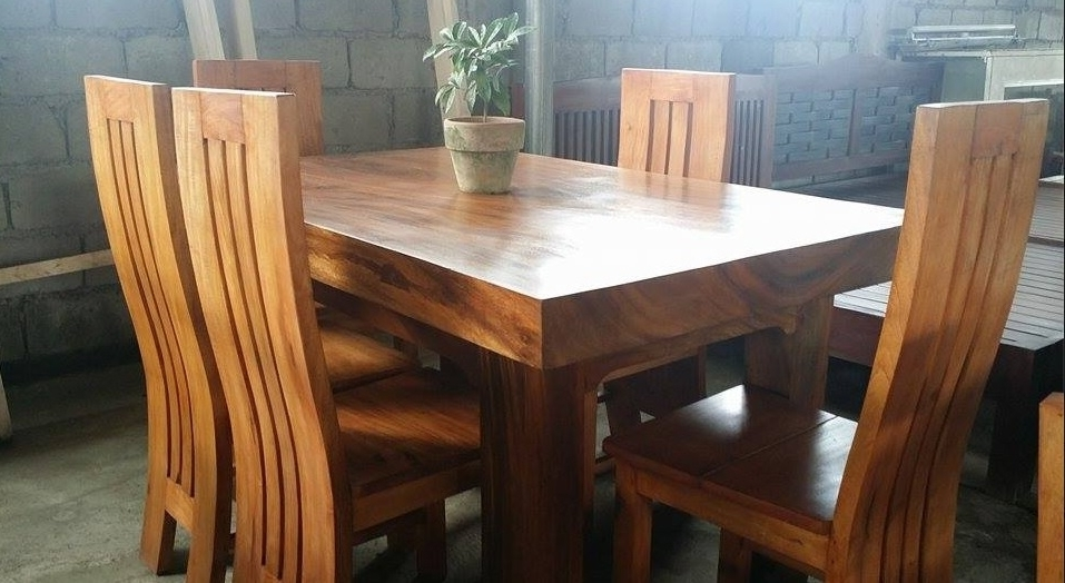Preferred Pure Molave Wood 6 Seater Dining Set – Buy Wooden Dining Set Product For Wooden Dining Sets (View 15 of 20)