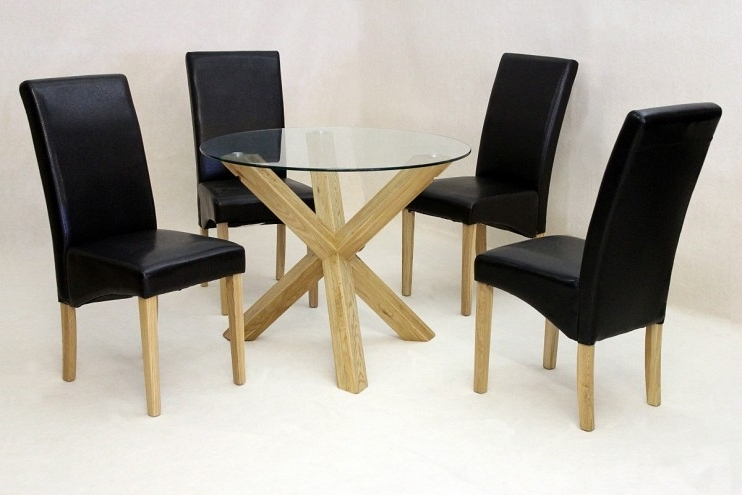 Preferred Round Glass Dining Tables With Oak Legs Pertaining To Solid Oak Round Glass Dining Table Only (View 4 of 20)
