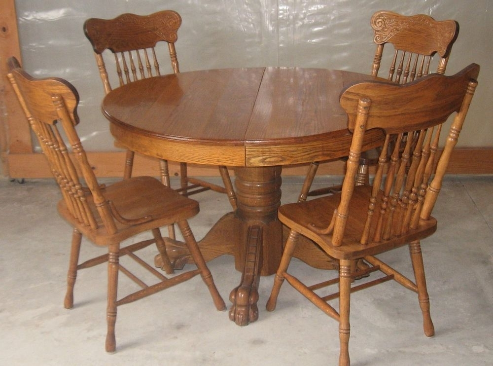 Preferred Round Oak Dining Tables And Chairs In Antique 47 Inch Round Oak Pedestal Claw Foot Dining Room Table With (View 9 of 20)