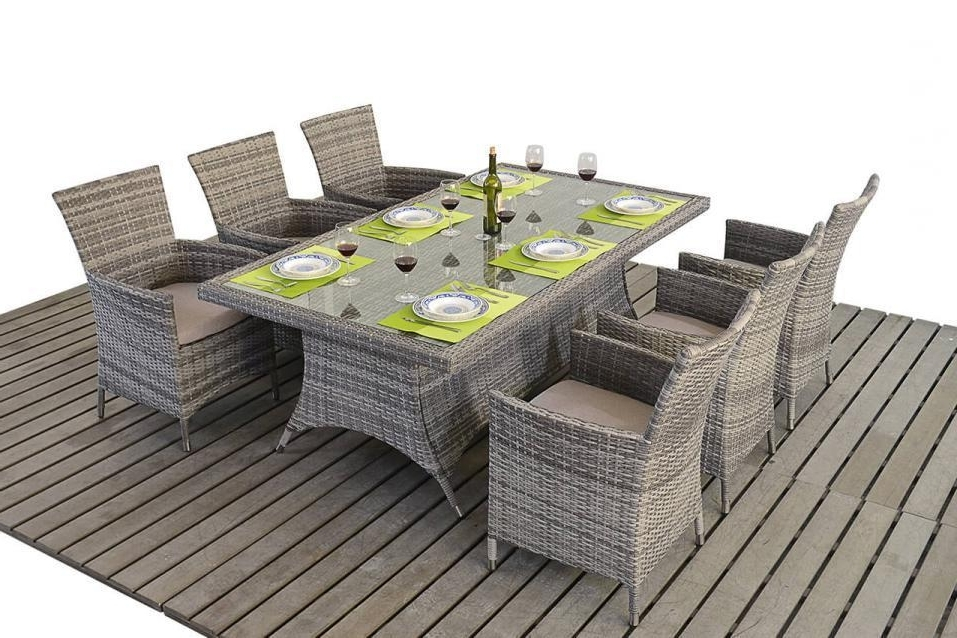 Preferred Rustic Grey Rattan Dining Table And Chairs – Homegenies For Rattan Dining Tables And Chairs (View 9 of 20)