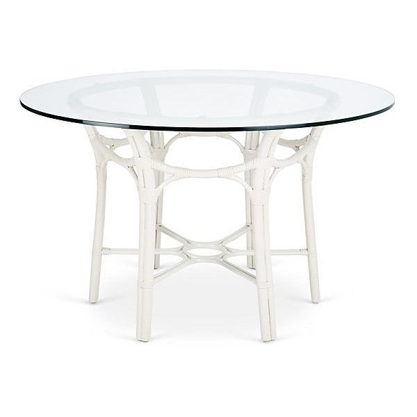 "Preferred Selamat Clementina 48"" Rattan Round Dining Table White (280 Kwd Regarding White Circular Dining Tables (View 13 of 20)"