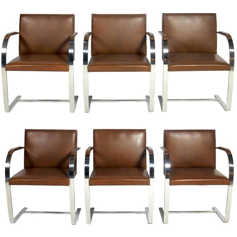 Preferred Set Of Six Knoll Brno Chrome And Leather Dining Chairs At 1Stdibs Within Chrome Leather Dining Chairs (View 3 of 20)