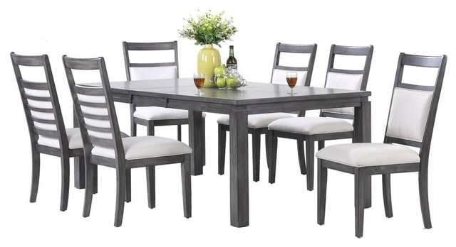 Preferred Shades Of Gray 7 Piece Dining Set – Transitional – Dining Sets – For Walden 7 Piece Extension Dining Sets (View 11 of 20)