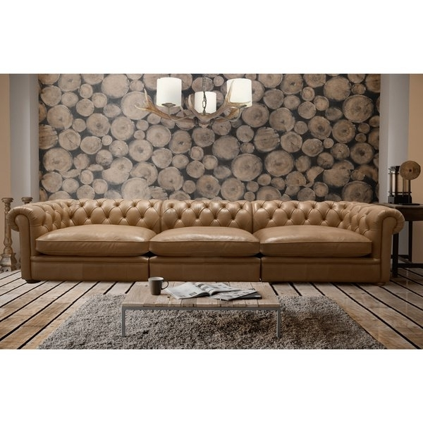 Preferred Shop Abraham 142 Inch 3 Piece Aurora Honey Leather Sofa Set – Free Inside Aurora 2 Piece Sectionals (View 11 of 15)