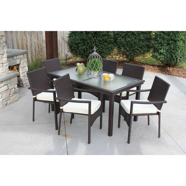 Preferred Shop Discontinued Baker All Weather Wicker/ Glass Outdoor Dining In Wicker And Glass Dining Tables (View 13 of 20)