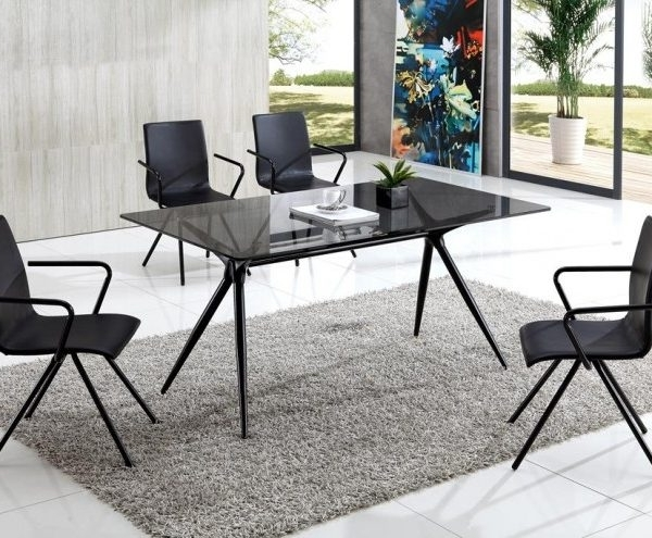 Preferred Smoked Glass Dining Tables And Chairs Inside Seveno Smoke Glass Dining Table With Audrey Dining Chairs – Implex (View 12 of 20)