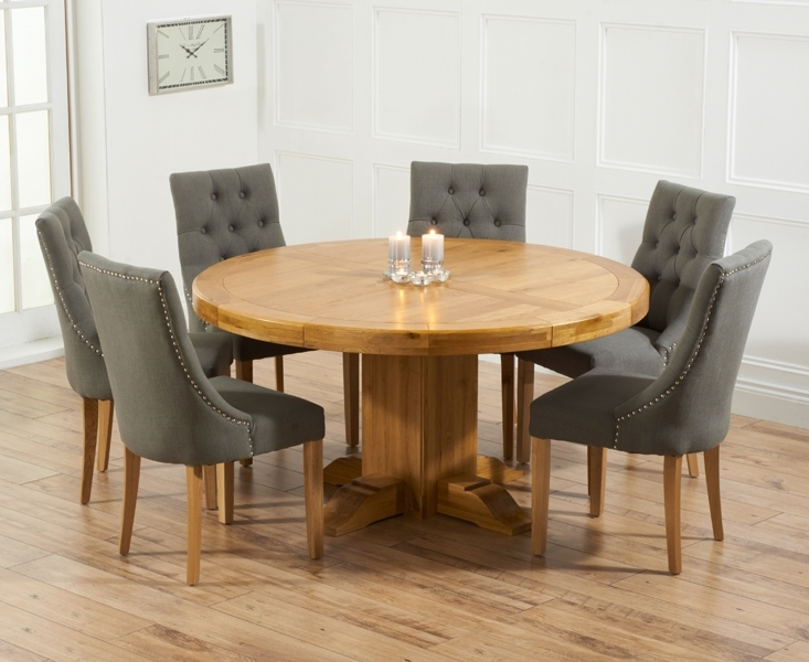 Preferred Torino 150Cm Solid Oak Round Pedestal Dining Table With Pacific Intended For Round Oak Extendable Dining Tables And Chairs (View 2 of 20)