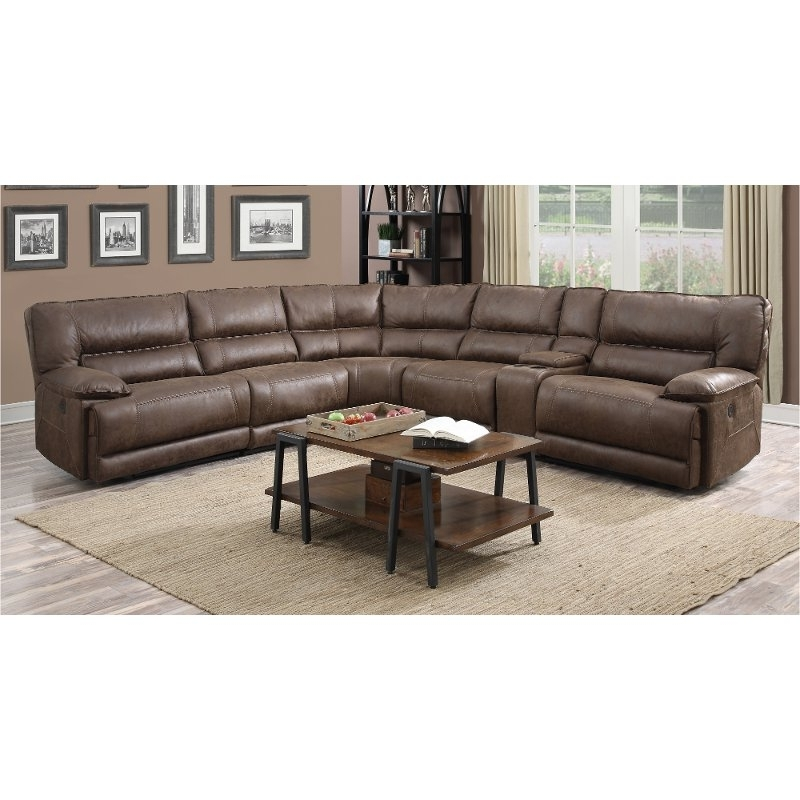 Preferred Travis Cognac Leather 6 Piece Power Reclining Sectionals With Power Headrest & Usb Within Cognac Leather Sectional Sofa (View 7 of 15)