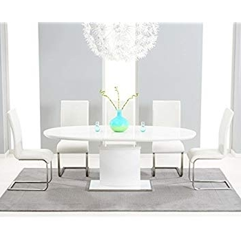 Preferred White High Gloss Oval Dining Tables With Oak Furniture House Cadiz High Gloss 6 Seater Oval Extending Dining (View 15 of 20)