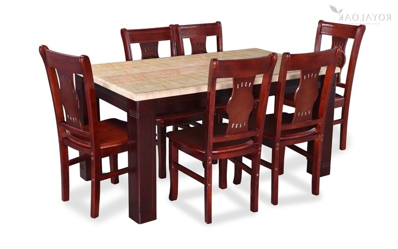 Preferred Wood Dining Tables And 6 Chairs In Buy Royaloak Lido 6 Seater Dining Set With Art Marble Table Top (View 10 of 20)