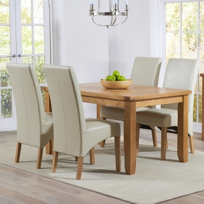 Preferred Yorkshire Solid Oak 140Cm Dining Table With 4 Rome Cream Chairs Pertaining To Cream And Wood Dining Tables (View 16 of 20)