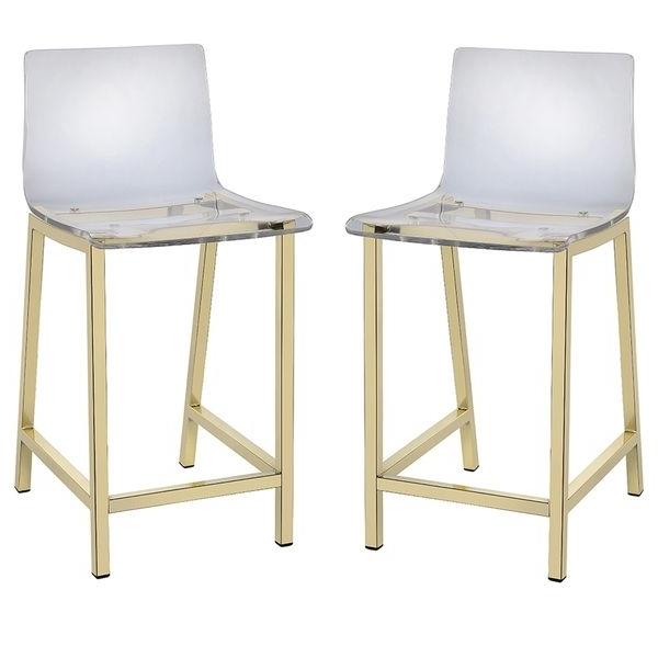 Pure Decor Clear Acrylic Counter Stool – Set Of 2 (Counter Stool Set With Popular Laurent 7 Piece Counter Sets With Upholstered Counterstools (View 16 of 20)