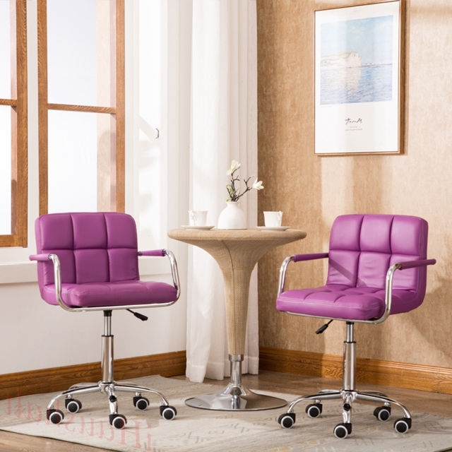 Purple Faux Leather Dining Chairs Intended For Well Known 2* Purple Breakfast Wheel Bar Stool Pu Faux Leather Swivel Kitchen (View 15 of 20)