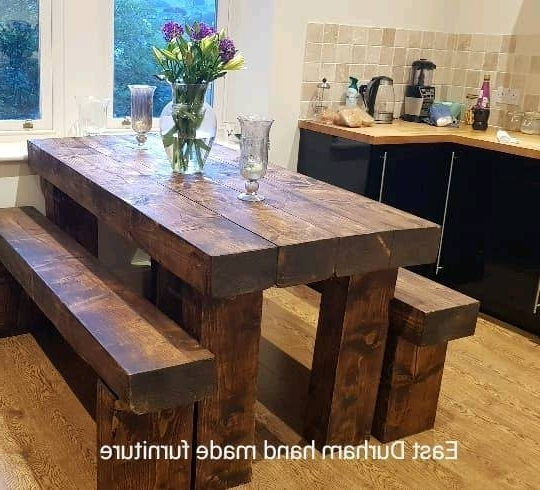Railway Dining Tables In Well Known Stunning Dining Table With Bench's Hand Made In Railway Sleepers (View 11 of 20)