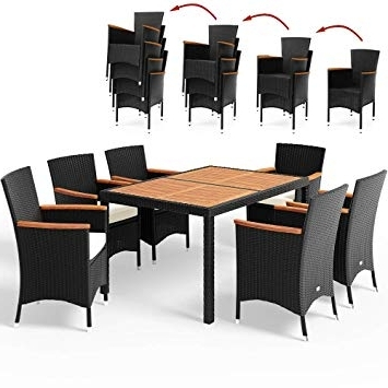 Rattan Dining Tables And Chairs Intended For Most Current Rattan Dining Table And Chairs Set Garden Furniture 6 Seater Wooden (View 7 of 20)