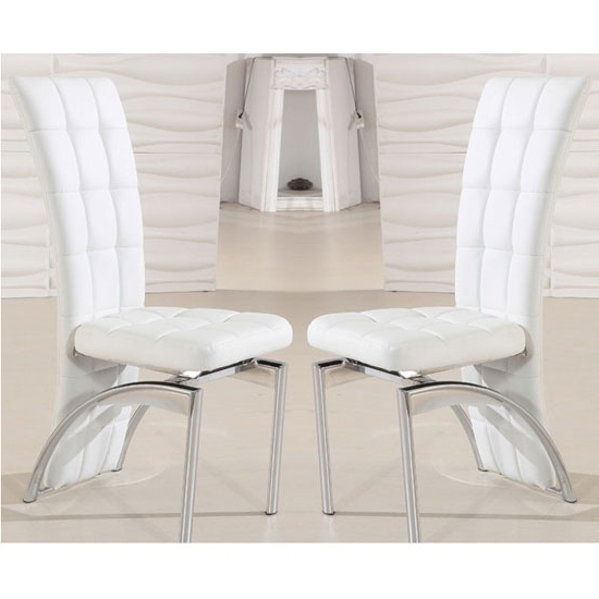 Ravenna Dining Chair In White Faux Leather In A Pair 19498 With Newest White Leather Dining Chairs (View 14 of 20)