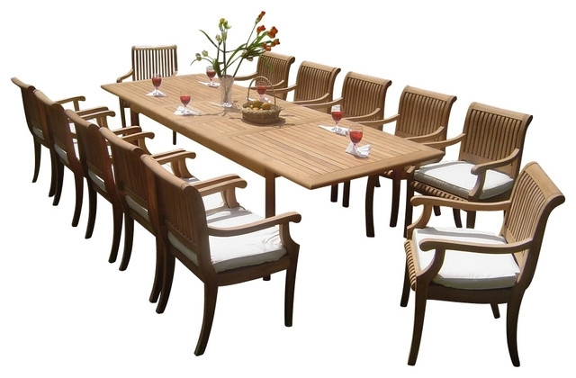 "Recent 13 Piece Outdoor Teak Dining Set, 117"" Rectangle Table, 12 Giva Arm Regarding Craftsman 7 Piece Rectangular Extension Dining Sets With Arm & Uph Side Chairs (Gallery 14 of 20)"