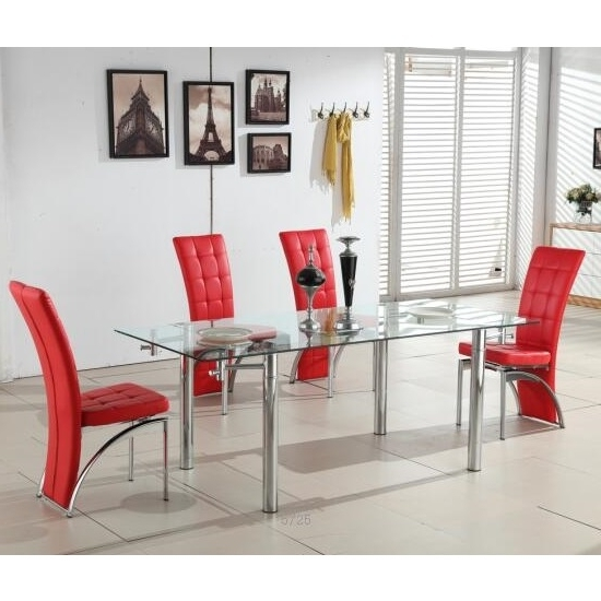 Recent 6 Seater Glass Dining Table Sets In Alicia Extending Glass Dining Table With 6 Ravenna Red (View 16 of 20)