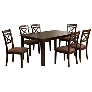 Recent Amazon – Furniture Of America 7 Piece Hudson Rectangular Dining For Hudson Dining Tables And Chairs (Gallery 6 of 20)