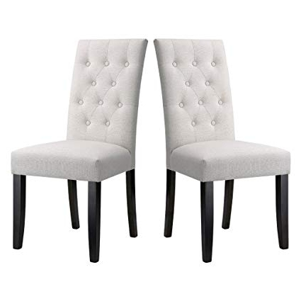 Recent Amazon – Langria Button Tufted High Back Dining Chair Modern In Button Back Dining Chairs (View 11 of 20)