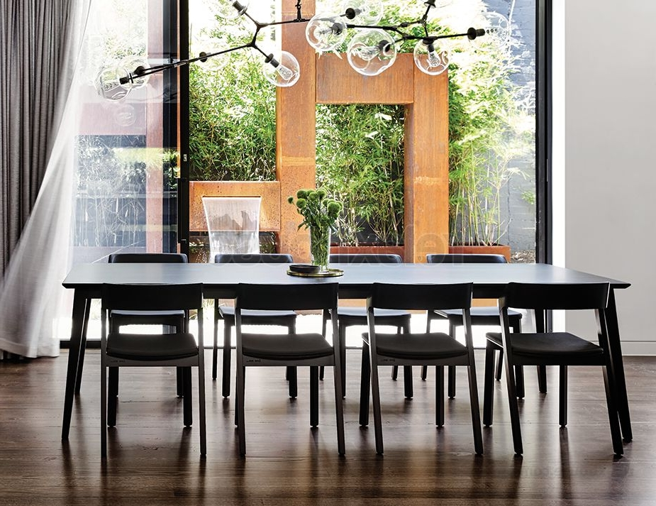 Recent Black Dining Tables Inside Black Solid Timber Dining Table (View 17 of 20)